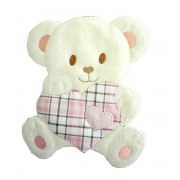 Large Iron-on Patch - Teddy Bear with Heart - Pink