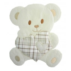 Large Iron-on Patch - Teddy Bear with Heart - Turtledove