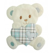 Large Iron-on Patch - Teddy Bear with Heart - Light Blue