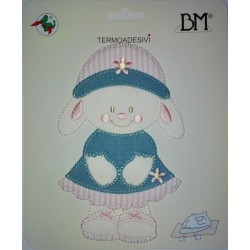 Iron-on Patch - Bunny with Jeans Hat and Dress - Pink