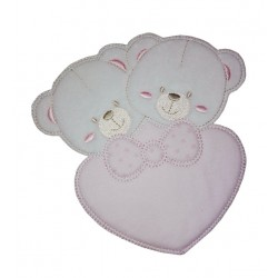 Iron-on Patch - Twin Bears with Pink Heart