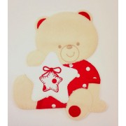 Iron-on Patch - Teddy Bear with Star -  Red