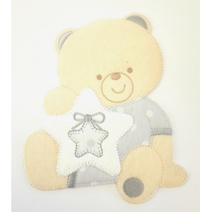 Iron-on Patch - Teddy Bear with Star -  Grey Pearl