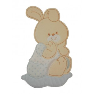 Iron-on Patch - Light Blue Baby Rabbit with Little Stars