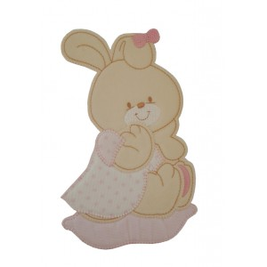 Iron-on Patch - Pink Baby Rabbit with Little Stars