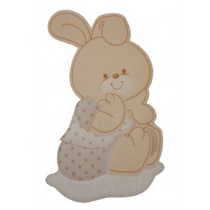Iron-on Patch - Cream Baby Rabbit with Little Stars