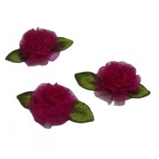 Organza Roses with Embroidered Leaves - Fuxia Color