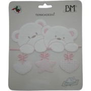 Iron-on Patch - Pink Teddy Bears with Star and Hearts