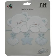 Iron-on Patch - Light Blue Teddy Bears with Star and Hearts