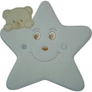 Iron-on Patch - Large Light Blue Star with Teddy Bear