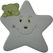 Iron-on Patch - Large Pink Star with Teddy Bear