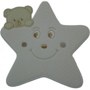 Iron-on Patch - Large Cream Star with Teddy Bear
