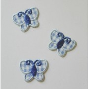 Iron-On Embroidery Sticker - Light Blue Butterflies
