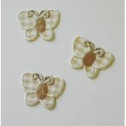 Iron-On Embroidery Sticker - Cream Butterflies