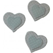Iron-On Patch - Light Blue Hearts