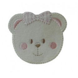 Iron-on Patch - Teddy Bear Face - Pink