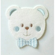 Iron-on Patch - Teddy Bear Face - Light Blue