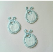Iron-On Embroidery Sticker - Light Blue Baby Bib