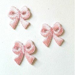 Iron-On Embroidery Sticker - Pink Bow