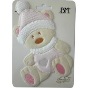 Iron-on Patch - Teddy Bear with Hat - Pink