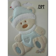 Iron-on Patch - Teddy Bear with Hat - Light Blue