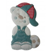 Iron-on Patch - Teddy Bear with Jeans Dress and Hat