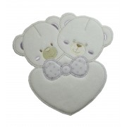 Iron-on Patch - Twin Bears with Lilac Heart