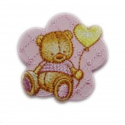 Iron-on Patch - Teddy Bear on Pink Flower