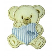 Marbet Iron-on Patch - Teddy Bear with Light Blue Heart