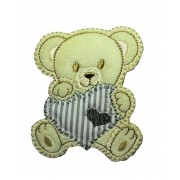 Marbet Iron-on Patch - Teddy Bear with Grey Heart
