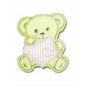 Marbet Iron-on Patch - Teddy Bear with Pink Heart
