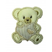 Marbet Iron-on Patch - Teddy Bear with Turtledove Heart