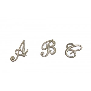 Iron-on Patch Cursive Letters - Silver Color