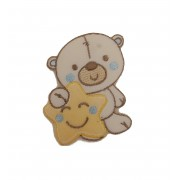 Iron-on Patch - Teddy Bear with Star Light Blue