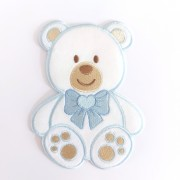 Marbet Iron-on Patch - Light Blue Teddy Bear with Bow