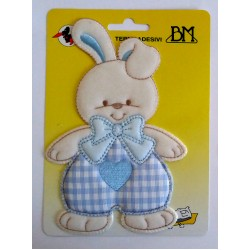 Iron-on Patch - Light Blue Baby Rabbit with Heart