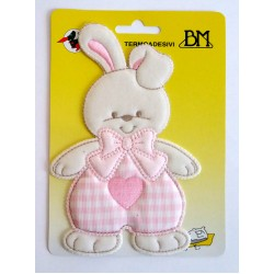 Iron-on Patch - Pink Baby Rabbit with Heart