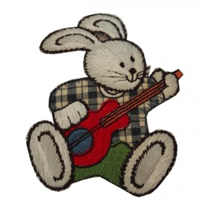 Iron-on Embroidery Sticker - Bunny with Guitar