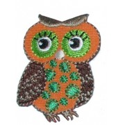 Iron-on Embroidery Sticker - Orange Owl