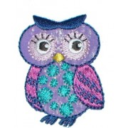 Iron-on Embroidery Sticker - Pink and Lilac Owl