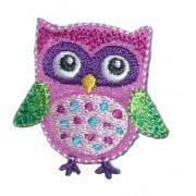 Iron-on Embroidery Sticker - Pink and Green Owl