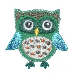 Iron-on Embroidery Sticker - Green and Turquoise Owl