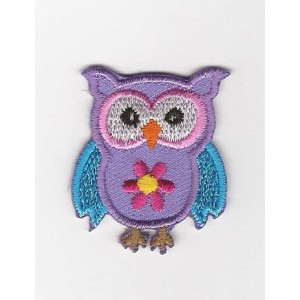 Iron-on Embroidery Sticker - Pink and Turquoise Owl