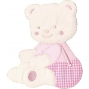 Iron-on Embroidery Sticker - Pink Teddy Bear