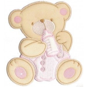 Iron-on Patch - Teddy Bear with Feeding Bottle - Pink