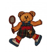 Iron-on Embroidery Sticker - Teddy Bear with Racket
