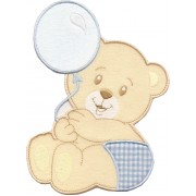 Iron-on Patch - Teddy Bear with Balloon - Light Blue