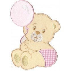 Iron-on Patch - Teddy Bear with Balloon - Pink