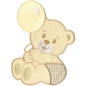 Iron-on Patch - Teddy Bear with Balloon - Cream