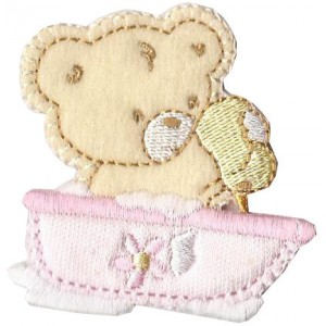 Iron-on Embroidery Sticker - Washing Teddy Bear  -  Pink